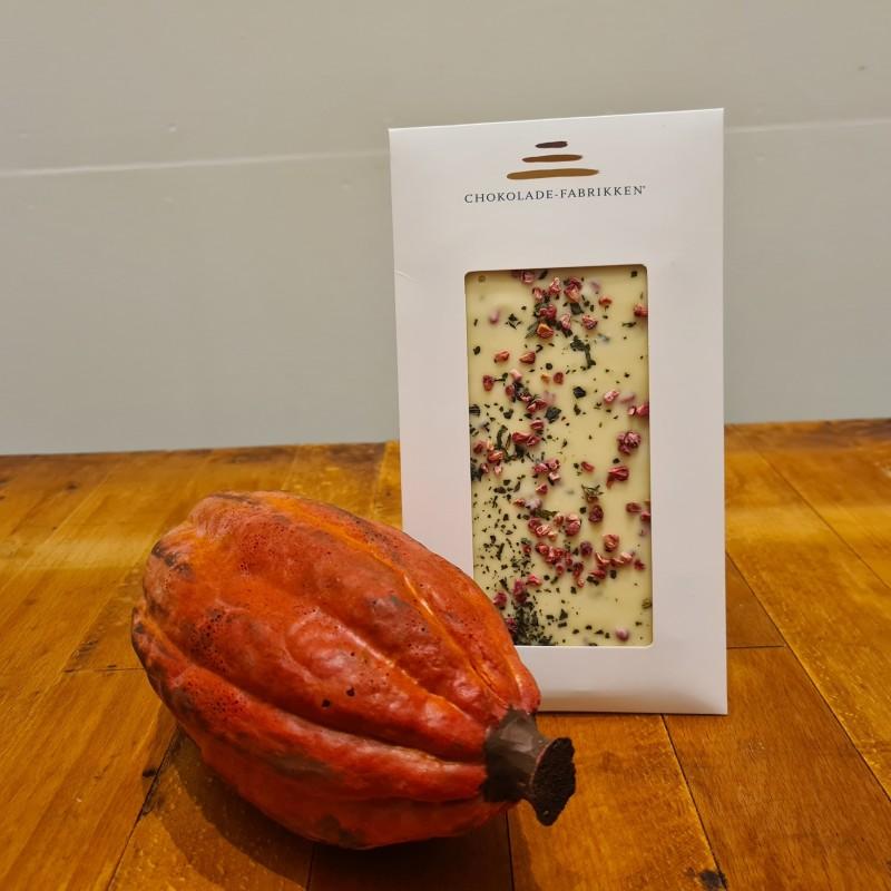 Hvid chokolade med hindbær og mynte
