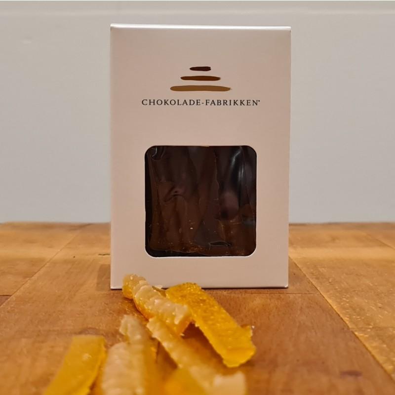Syltet orangegrene overtrukket i mørk chokolade