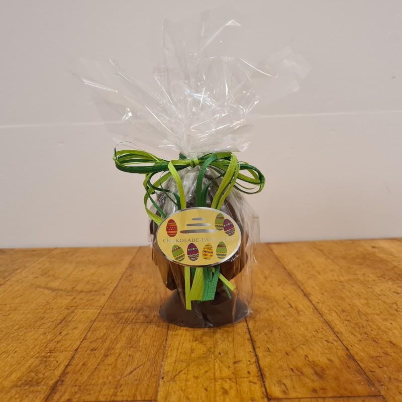 Hel påskeæg i mørk chokolade, ca. 10 cm. DENNE VARE SKAL AFHENTES I BUTIKKEN