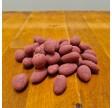 Dragerede mandler med lys chokolade og hindbær